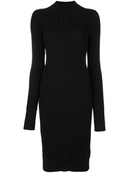 Maison Martin Margiela Ribbed Knit Sweater Dress Black