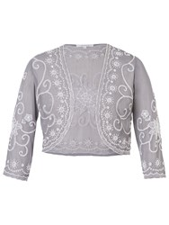 Chesca Embroidered Bolero Grey Silver