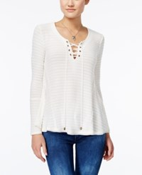 American Rag Lace Up Rib Knit Pullover Top Only At Macy's Egret
