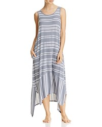 Dkny Sleeveless Long Gown Gray Stripe