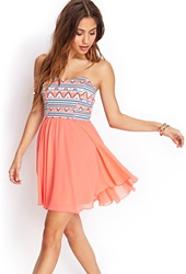 Forever 21 Tribal Print Strapless Dress Neon Coral Mint