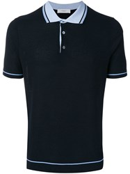 Pringle Of Scotland Contrast Trim Knitted Polo Shirt Blue