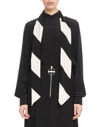 Givenchy Long Sleeve Button Front Silk Blouse With Striped Detachable Scarf Black