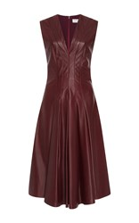 Carolina Herrera Sleeveless A Line Leather Dress Burgundy