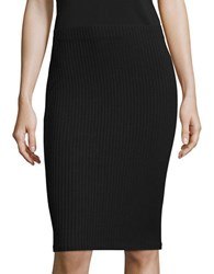 Design Lab Lord And Taylor Ribbed Pencil Skirt Black