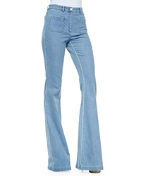 Michael Kors Washed Denim Bell Bottom Jeans Cornflower