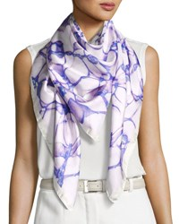 Anna Coroneo Silk Satin Square Water Scarf Purple