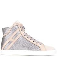 Hogan Rebel Glitter Panel Sneakers Pink Purple