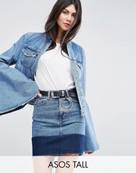 Asos Tall Denim Jacket With Rips And Fluted Sleeve Blue