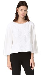 Reem Acra Bell Sleeve Top White