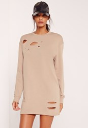 Missguided Ripped Oversized Jumper Dress Grey