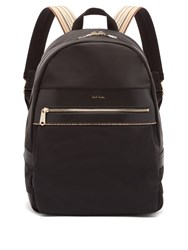 Paul Smith Artist Webbing Leather Trimmed Nylon Backpack Black