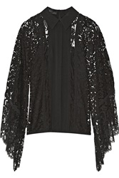 Elie Saab Draped Chiffon Paneled Lace Top