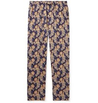Zimmerli Floral Print Cotton Pyjama Trousers Navy