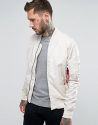 Alpha Industries Ma 1 Bomber Jacket Slim Fit In Off White Exclusive Cr1 Cream 1