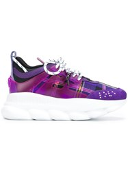 Versace Checked Lace Up Sneakers Pink And Purple