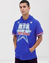 Mitchell And Ness 1991 All Star Short Sleeve Hooded Sweat In Blue