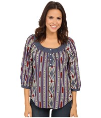 Roper 9903 Printed Cotton Lawn Peasant Blouse Blue Women's Blouse