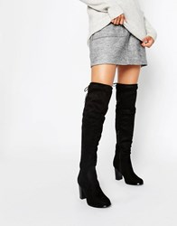 Oasis Over The Knee Heeled Boots With Lace Up Detail Black
