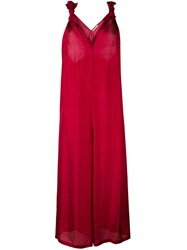 Mes Demoiselles 'Louvre' Jumpsuit Women Silk 40 Red