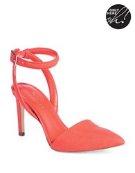424 Fifth Baylee Suede Ankle Strap Pumps Red