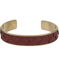 Aspinal Of London Cleopatra Skinny Python Leather Cuff Bangle S Burgundy