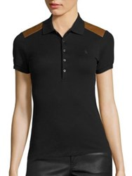 Polo Ralph Lauren Leather Trim Shirt Polo Black