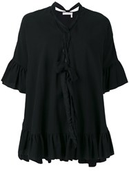 See By Chloe Lace Front Flared Blouse Women Cotton Linen Flax 34 Black