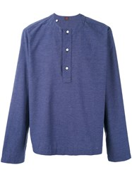 Massimo Piombo Mp Henley Shirt Men Cotton Polyester L Blue