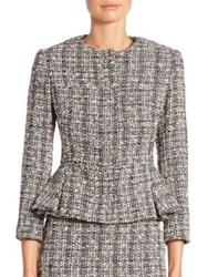 Alexander Mcqueen Tweed Peplum Jacket Black White Ivory