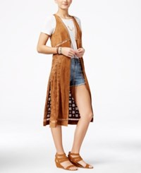 American Rag Juniors' Faux Suede Laser Cut Vest Only At Macy's Tan