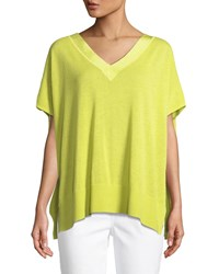 Joan Vass V Neck Sweater W Grosgrain Trim Plus Size Lime