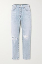 Citizens Of Humanity Liya Distressed High Rise Straight Leg Jeans Light Denim