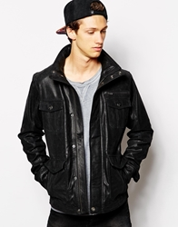 Solid Solid Leather Field Jacket Black
