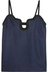 Victoria Beckham Crepe And Silk Satin Trimmed Twill Camisole Navy