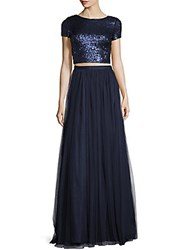 Adrianna Papell Short Sleeved Crop Top And Skirt Gown Set Navy