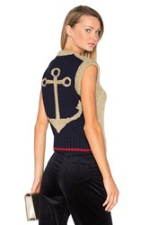 Hilfiger Collection Knit Anchor Sleeveless Sweater Navy