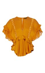 Marissa Webb Jayla Crepe And Lace Blouse Gold