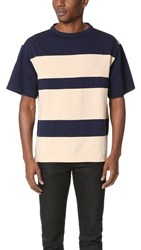 Marni Cotton Jersey Tee Dark Blue Beige