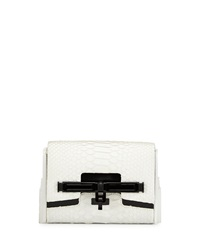Kara Ross Lux Mini Matte Python Clutch Bag White Black