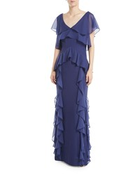 Parker Black Nia Draped Ruffle Combo Gown Navy