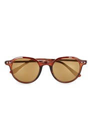 Topman Brown Flash Lens Round Sunglasses