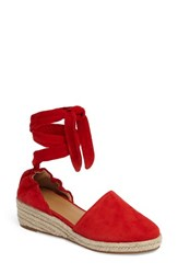 Marc Fisher Women's Ltd Baylee Wraparound Wedge Red Suede