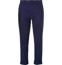 Blue Blue Japan Pleated Indigo Dyed Stretch Cotton Trousers