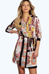 Boohoo Scarf Paisley Print Shirt Dress Multi