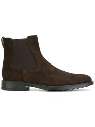 Tod's Ankle Length Boots Leather Suede Rubber 8.5 Brown