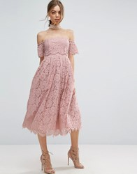 Asos Off The Shoulder Lace Prom Midi Dress Pink