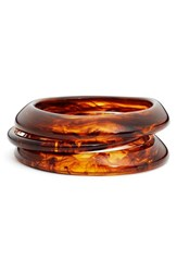 Zenzii Women's Set Of Three Of Resin Bangles Tortoise