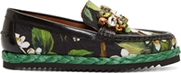 Dolce And Gabbana Green Crystal And Orange Blossom Loafers