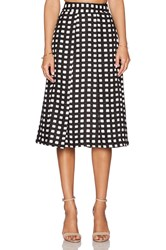 J.O.A. Gingham Midi Skirt Black And White